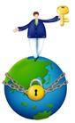 网络商务0056,网络商务,商业,一把锁 锁链 钥匙