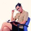 办公女性0082,办公女性,人物,思考 拿着笔