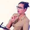 办公女性0083,办公女性,人物,思索 记事本