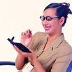 办公女性0084,办公女性,人物,记事 黑框眼镜