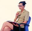 办公女性0090,办公女性,人物,靠椅 想问题