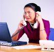 办公女性0092,办公女性,人物,接电话 打印机 电脑