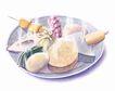 美食插图0092,美食插图,饮食,点心 鸡蛋 青菜