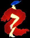 人物0001,人物,霓虹灯设计,舞女 人物类 蓝色头发 火红裙摆 抬起腿