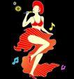 人物0006,人物,霓虹灯设计,歌女 红色高跟鞋 麦克风 高歌一曲 彩色音符