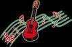 音乐0010,音乐,霓虹灯设计,一把吉他 红色音符