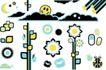 元素0003,元素,欧美花纹元素,多边形 云朵 太阳