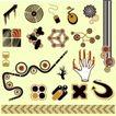 元素0016,元素,欧美花纹元素,几何图形 手套