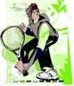 服装0047,服装,欧美花纹元素,网球选手 手拿球拍