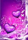 红心0071,红心,欧美花纹元素,紫色心形
