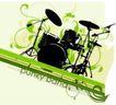 音乐0029,音乐,欧美花纹元素,架子鼓