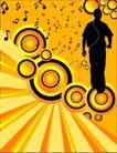 音乐0058,音乐,欧美花纹元素,人影 音乐符号