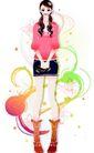 花纹女性0037,花纹女性,花纹背景,娟秀女孩 超短裙