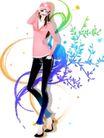 花纹女性0038,花纹女性,花纹背景,粉色衣服 深色裤子