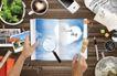创意设计专辑030047,创意设计专辑03,创意设计,画册 蓝色天空 书桌