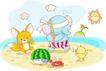 卡通动物0017,卡通动物,卡通,海边 小象 捉迷藏