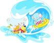 卡通动物0022,卡通动物,卡通,冲浪的小象