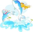 卡通动物0034,卡通动物,卡通,蓝色鲸鱼 跃起来