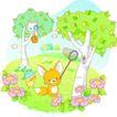 卡通动物0035,卡通动物,卡通,绿树 举起网