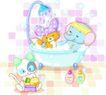 卡通动物0041,卡通动物,卡通,一起洗澡 莲蓬头
