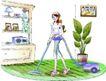卡通女性0022,卡通女性,卡通,吸尘器 清洁地面