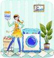 卡通女性0025,卡通女性,卡通,洗衣机 叠好的衣服 一个主妇