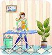 卡通女性0026,卡通女性,卡通,熨衣板 熨衣服 勤劳主妇