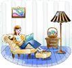 卡通女性0027,卡通女性,卡通,休闲 躺椅 上网