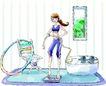 卡通女性0028,卡通女性,卡通,做运动 呼啦圈 称体重