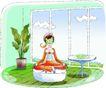 卡通女性0029,卡通女性,卡通,盘腿 水果美容