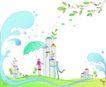 卡通情人节0018,卡通情人节,卡通,大伞 浪花
