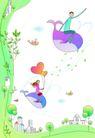 卡通情人节0019,卡通情人节,卡通,鲸鱼 坐在鲸鱼上 飞翔