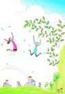 卡通情人节0020,卡通情人节,卡通,绿色树枝 飞在空中