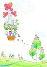 卡通情人节0025,卡通情人节,卡通,热气球飞起 洒落红心