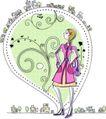 卡通时尚女性0017,卡通时尚女性,卡通,高贵女郎 神气活现