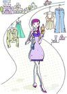 卡通时尚女性0019,卡通时尚女性,卡通,挂起的衣服
