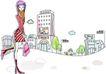 卡通时尚女性0020,卡通时尚女性,卡通,时髦女孩 卡通时尚