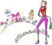 卡通时尚女性0021,卡通时尚女性,卡通,现代都市女性 细细的腿