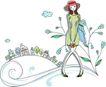 卡通时尚女性0027,卡通时尚女性,卡通,戴帽子的女孩