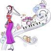 卡通时尚女性0029,卡通时尚女性,卡通,琴键 玫瑰色裤子