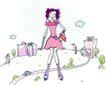 卡通时尚女性0046,卡通时尚女性,卡通,时尚女孩 手跨小包 粉红女郎