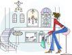 卡通时尚女性0047,卡通时尚女性,卡通,高脚椅 休息 弯腰坐姿