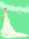婚礼女性0047,婚礼女性,女性生活,头顶散花 裙尾拖地 坦胸婚纱