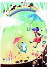 浪漫情人节0049,浪漫情人节,女性生活,打伞 飘浮空中 飞猫