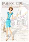 购物女性0021,购物女性,女性生活,蓝色连衣裙