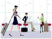 运动女性0049,运动女性,女性生活,机场 候机厅 拖行李