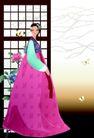 韩国女性0025,韩国女性,女性生活,玫红裙摆