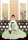 韩国女性0049,韩国女性,女性生活,坐姿 壁挂画卷 雕栏