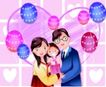 家庭和睦0049,家庭和睦,家庭,爱心 气球 全家福