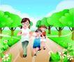 家庭和睦0051,家庭和睦,家庭,全家运动 跑步 郊外